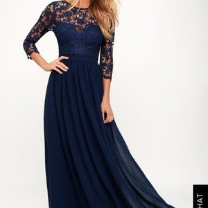 Lulus TOUCH MY HEART NAVY BLUE LACE-UP LACE DRESS